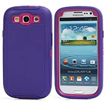 MOONCASE Galaxy S3 Case, 3 Layers Heavy Duty Defender Hybrid Soft TPU +PC Bumper Triple Shockproof Drop Resistance Protective Case Cover for Samsung Galaxy S3 I9300 -Purple