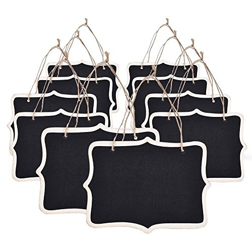 Mini Chalkboards Signs Hanging Blackboard Rectangle Message Board Double Sided for Weddings, Kids Crafts, Garden Favors Storage Labeling Tags, 3.3 X 2.3 Inch,Set of 10]()