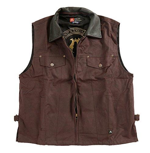 Kakadu Concealed Kelly Oilskin Vest, Classic Worker Style with Hugh Inside -