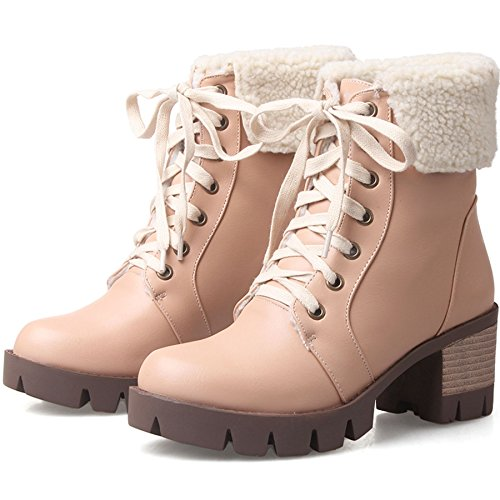 Platform Stacked Women's Winter Heel Ankle KingRover Apricot Boots Up Lace H5TwCaq