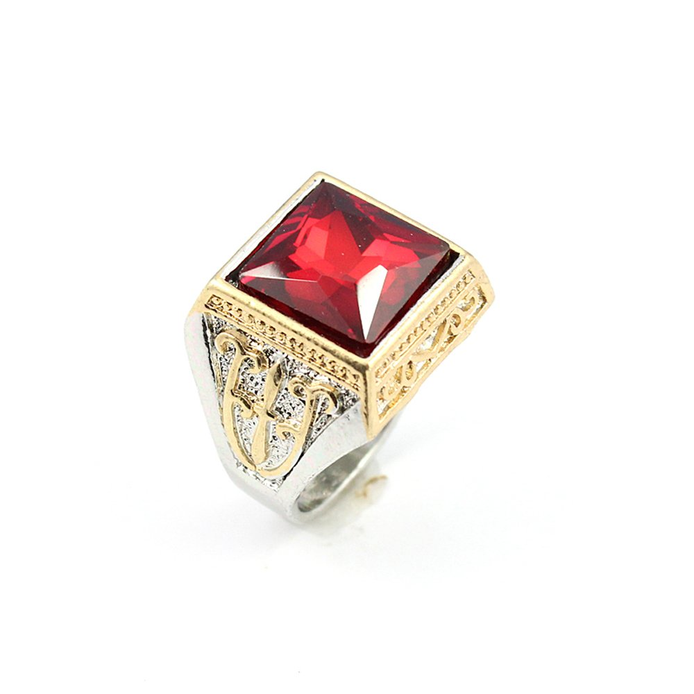 BEST QUALITY GARNET FASHION JEWELRY SILVER PLATED AND BRASS RING 9 S22973