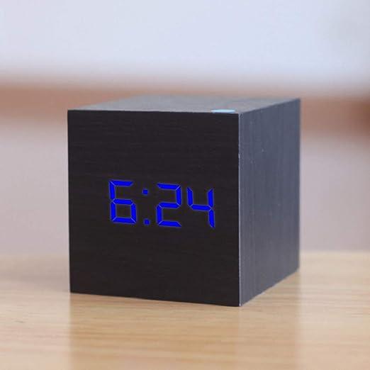Cualificado digital de madera LED de alarma del reloj de madera ...