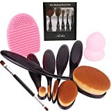 Aoohe Kabuki Oval Toothbrush Contour Makeup Brush Sets with Silicone Cleaning Mat Tools (Black10pcs)