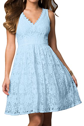 Damen Applikation sexuell aermellos Ivydressing V mini Hellblau Ballkleid kurz Heimkehrkleid Linie Cocktailkleid Satin A Rueckenfrei Neck Spitze dfxH5wxPSq