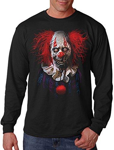 Interstate Apparel Men's Zombie Clown Black Long Sleeve T-Shirt 2X-Large Black ()