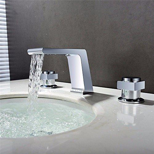 YSRBath Modern Bathroom Sink Faucet Antique Chrome Waterfall Cold Water Ceramic Valve Double Take Kitchen Bathroom Basin Mixer Tap Basin Faucet