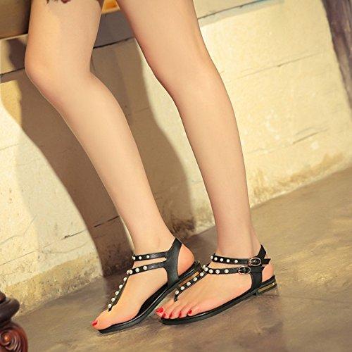 COOLCEPT Mujer Moda Elegant Tacon de Vaquero Flip Flop Sling Beach Sandalias Ankle Strap 601 Negro