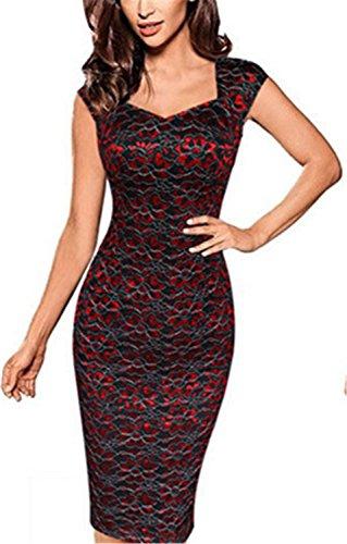 YOGLY Mujer Vestido Elegante Floral Tirantes sin Mangas Noche Vestido de la Impresión Rojo