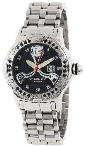 Stuhrling Original Women's 5ABS.121127 Champion Alpine La Femme Swiss Quartz Mother-Of-Pearl Date Black Dial Watch