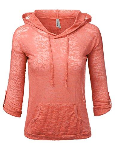 JJ Perfection Women's Sheer Slub Knit 3/4 Sleeve Drawstring Hoodie Cover-up BLUSH L
