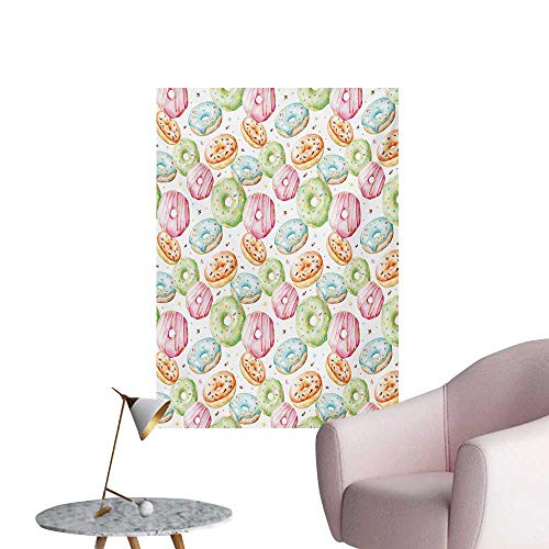 Anzhutwelve Colorful Wallpaper Delicious Watercolor Pattern with Doughnuts Hand Drawn Yummy Tasty Pastries BakeryMulticolor W24 xL36 Art Poster -