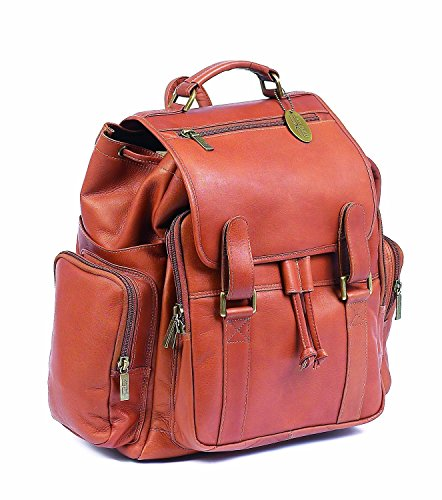 Claire Chase Jumbo Leather Small Laptop Backpack in Saddle ()
