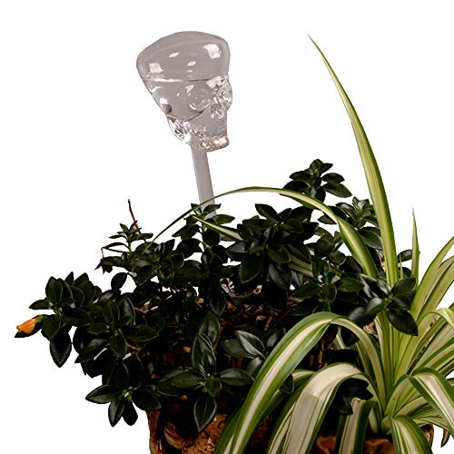 Automatic Flower Slow Drip Watering Hand Blown Glass Skull Shaped PlantSelf Watering System Irrigation forIndoor Balcony House Lawn WaterContainer Small Potted Plant Waterer Decoration (Skull)]()