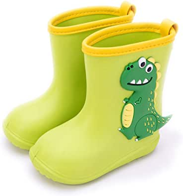 Gainsera Botas de Agua Niña Niño Botas de Agua Lluvia Impermeable y Antideslizante Caucho de EVA Rain Boots