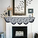 Halloween Decorations Spiderweb Fireplace Mantle Scarf Cover Black Lace + 2 pack Stretch Spider Webs 12 Fake Spiders + 48 Cemetery Bat Cutouts Trick or Treat Festive Party Favor Haunted House Supplies