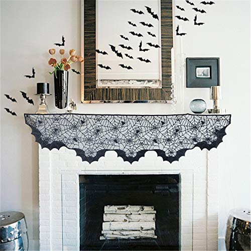 Halloween Decorations Spiderweb Fireplace Mantle Scarf Cover Black Lace + 2 pack Stretch Spider Webs 12 Fake Spiders + 48 Cemetery Bat Cutouts Trick or Treat Festive Party Favor Haunted House Supplies by Monadicase
