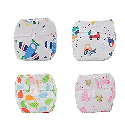 Fairy Baby Infant Summer Printed Velcro Diaper Cover Reusable Washable Nappy 4 Pack