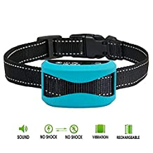 Hilifeone Anti Bark Collar, Rechargeable and Rainproof No Barking Control Training Electric Collar with Led Digital Display, Warning Beep, Static Shock Stimulation and Vibration, for 15-150 LBS Dogs
