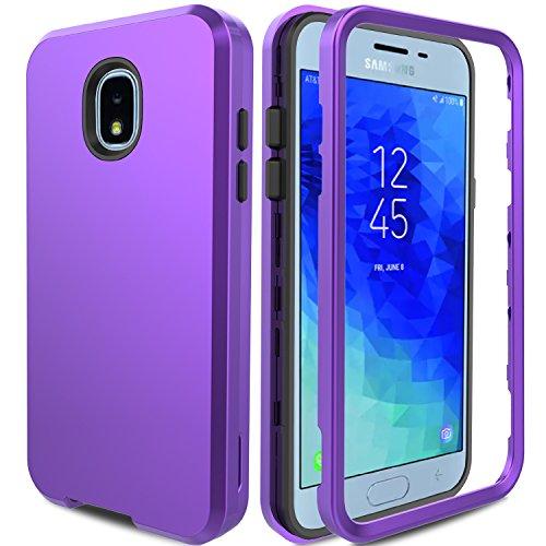 Galaxy J3 Achieve Case, Galaxy J3 Star Case, Galaxy J3 2018 Case, Galaxy J3 Amp Prime 3 Case AMENQ 3 in 1 Hybrid Heavy Duty Shockproof Hard PC TPU Bumper Protective Armor Phone Cover (Purple) by AMENQ