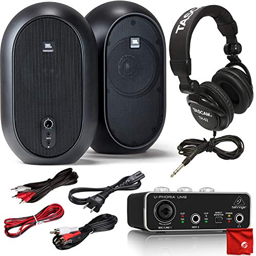 JBL Professional 1 Series 104 Compact Powered Reference Monitors Bundle with Behringer UM2 MIDI Audio Interface and Tascam Studio Headphones with RCA Connection Cable Kit