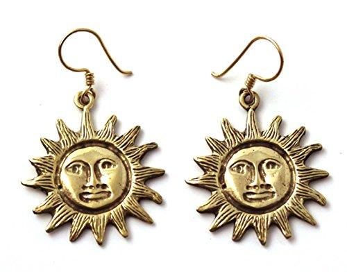 LynnAround Bronze Bohemian Hippie Boho Sun Drop Dangle Earrings Fish Hook Charm Vintage Thailand Made Jewelry -