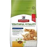 Hill's Science Diet, Adult 7+ Youthful Vitality, alimento seco para gatos adultos mayores, receta de pollo y arroz, bulto de 1.4 kg.