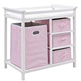Costzon Baby Changing Table, Diaper Storage Nursery Station with Hamper and 3 Baskets (White+Pink) Image