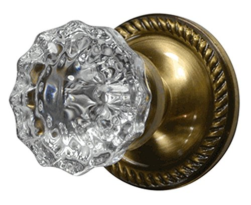 Regency Fluted Real Glass Door Knob with Georgian Roped Rosette in Antique Brass (Passage Hall/Closet) ()