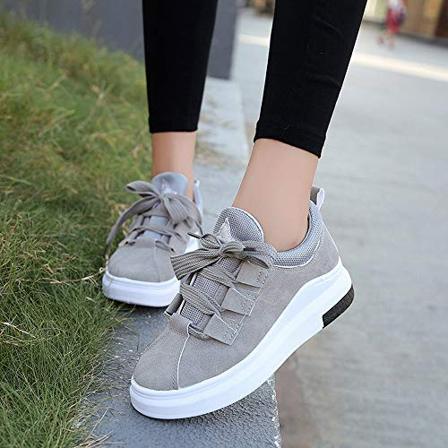 Grey Running Youth Walking Shopping Students Casual Ladies Shoes Up Outdoor Shopping Shoes FALAIDUO Shoes Lace Fashion Casual 0pawBz