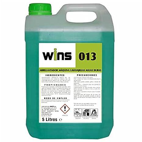 Wins. Abrillantador Máquina Lavavajillas Aguas Duras Wins 013. Envase 5 L. Producto para el aclarado y abrillantado automático de la vajilla y la ...