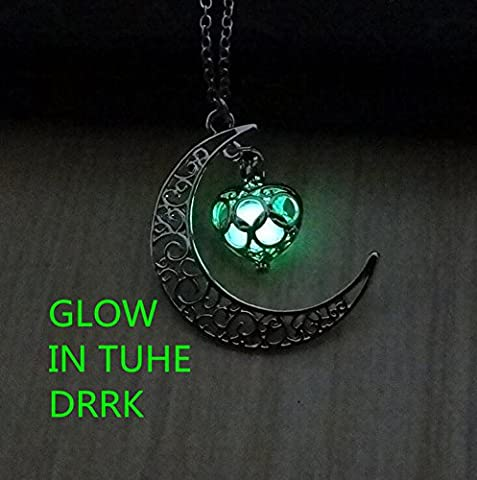 Glow in the Dark Silver Crescent Moon and Orb Necklace - Glowing green Moon Charm - Magical Fantasy Fairy Glowing Necklace - Glow (Magical Crescent Moon Necklace)