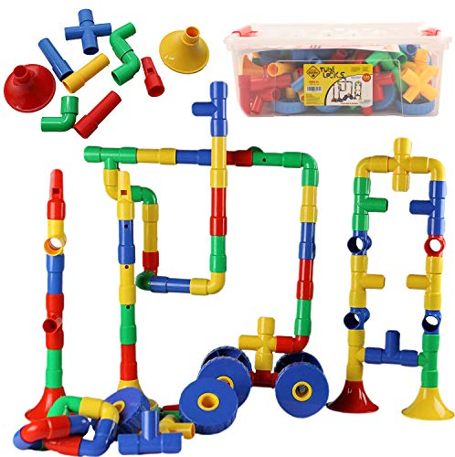 Smart Builder Toys Tube Locks Set 136 Pcs with Wheels and Music Parts with Plastic Container (View All Photos)