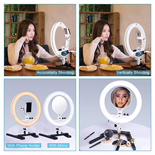 "NanGuang Ring Light 14"" LED Ring Light Bicolor with Phone Holder Mirror Desktop Stand Carrying Bag for MakeUp Youtube Video Shooting Portrait Selfie Live Webcast Still Life Photography Camera Phone"