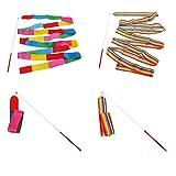 Binglinghua 4M Dance Ribbon Gym Sports Rhythmic Art Gymnastic Ballet Streamer Twirling Rod, Pack of 10