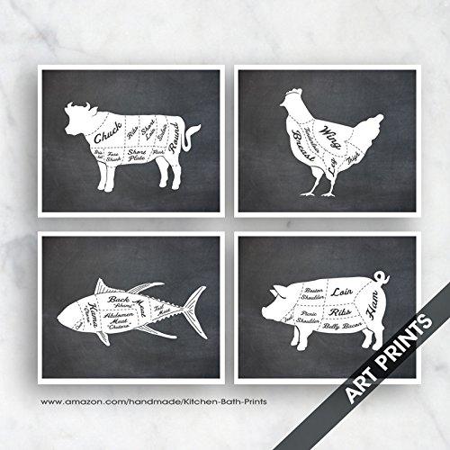 Amazon Beef Chicken Fish Pork Butcher Diagram Series B Set