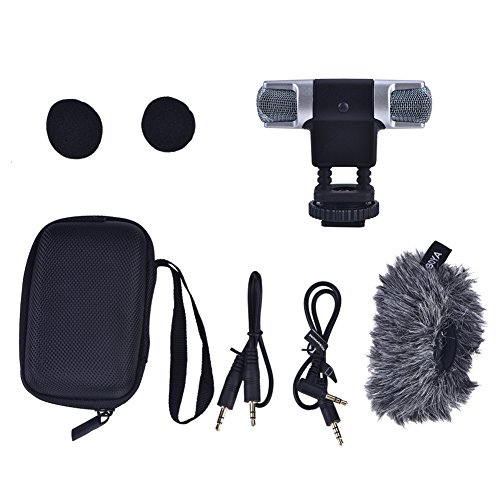 Acouto Stereo Microphone,Dual Head Left&Right Portable Microphone with Windshied 3.5mm Jack Kit by Acouto