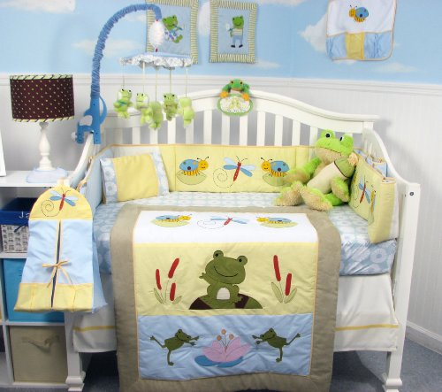 SoHo Froggies Pond Baby Infant Crib Nursery Bedding Set 13 pcs included Diaper Bag with Changing Pad & Bottle Case