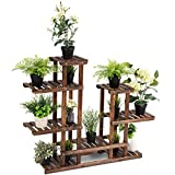 GHP 44''x10''x38'' 6-Tier Fir Wood Weather-Resistant Patio Garden Flower Pot Rack