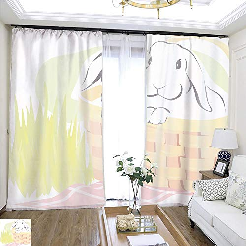 (Curtain lace Country Bunny W96 x L72 Insulated Room Shades Highprecision Curtains for bedrooms Living Rooms Kitchens etc.)