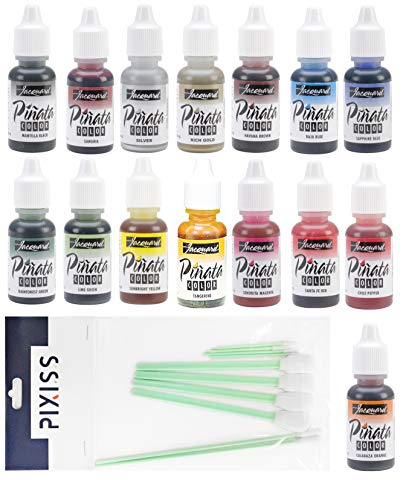 (Jacquard Pinata Color Alcohol Inks 15 Color Bundle, 8x Pixiss Ink Blending Tools)