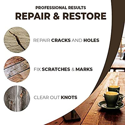 Wood Furniture Repair Kit, Hardwood Laminate Floor Repair Kit, Wood Floor Scratch Repair for Furniture, Wood Putty for Wood Filler - Wood Stain Touch Up, Scratch Remover, Rejuvenate Floor Restorer