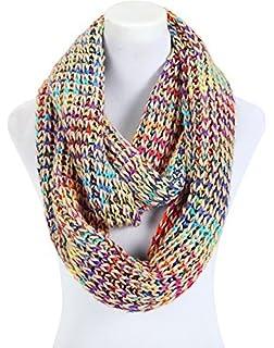 écharpe femme tube loop pour l hiver multicolore grosse maille - couleurs  différentes a1e3d3f6599