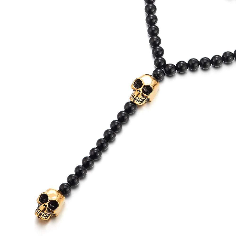 COOLSTEELANDBEYOND Biker Herren Damen Schwarz Onyx Perlen Y Form Kette Halskette Gold Sch/ädel aus Edelstahl