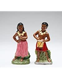 Purchase Dancing Hawaiian Hula Girl and Drummer Boy Salt and Pepper Shakers compare