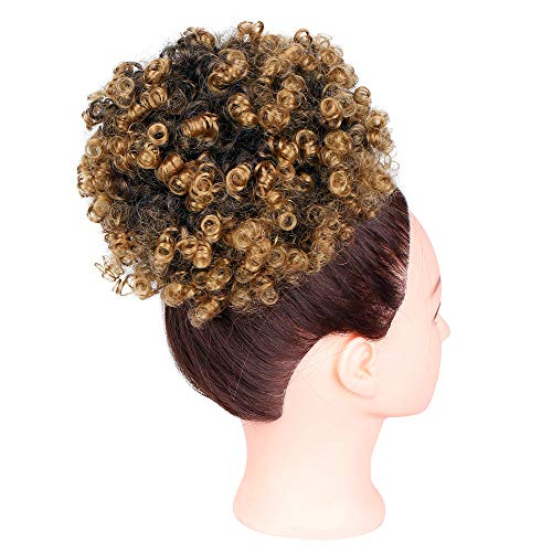GX Beauty Afro Puff Curly Drawstring Ponytail African American Kinky Curly Ponytail Synthetic Puff Hair Piece for Black Women(#T27)