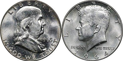 1963 Franklin & 1964 Kennedy Silver Half Dollar Set, BU Brilliant Uncirculated ()