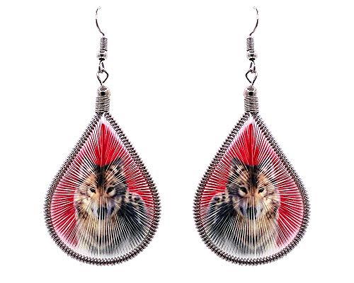 Mia Jewel Shop Wolf Animal Graphic Teardrop Thread Dangle Earrings (Red)
