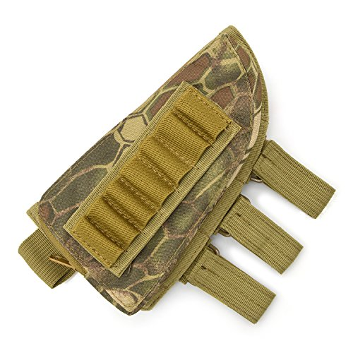 Freehawk® Tactical Sharpshooter / Rifle Stock / Rifle Pack / Cheek Pad / Buttstock Ammo Holder Pouch, Tactical Buttstock Shotgun Rifle Shell Holder Cheek Rest Pouch (Mountain camouflage)