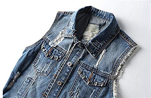 Primaverile Eleganti Retro Donna Chic Casual Gilet Con Comodo Giacca Corto Blau Jeans Cute Giacche Bavero Tasche Smanicato Autunno Moda Strappato Giubotto 0PX5WqX
