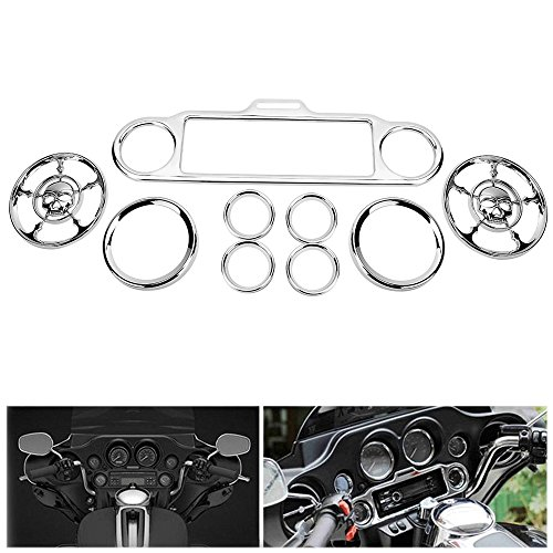 auges Bezels Stereo Accent Trim Ring Horn Cover For Harley Davidson Street Electra Glide Ultra Classic Touring 1986-2013 - Skull ()